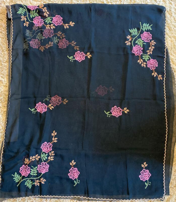 "Saree Sari 212"" X 43"" Dark Green With Embroidered Pink Flowers Sheer Silk"