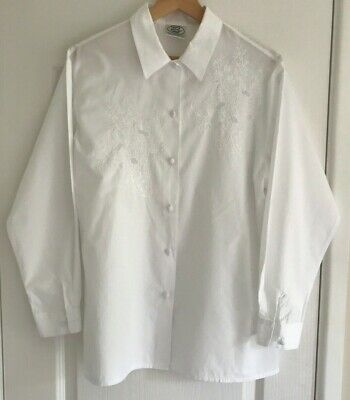 VINTAGE LAURA ASHLEY WOMEN'S WHITE LONG SLEEVE COTTON BLOUSE SIZE UK 12