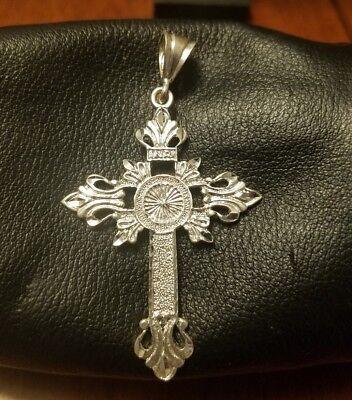 approximately 40 x 21 mm Sterling Silver Antiqued Fleur De Lis Cross Pendant