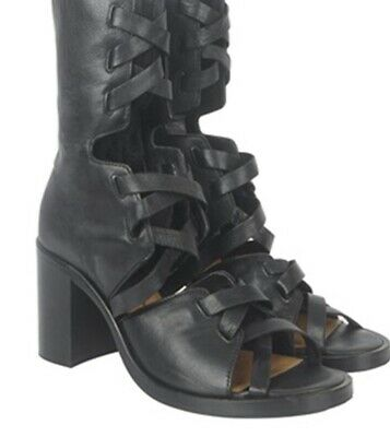Designer KITX 'X' Cut-Out Black LeatherKnee Hi Boots Womens 37-$695-As New!