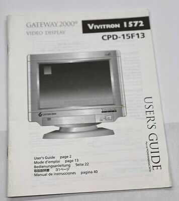 BOOK MANUAL GATEWAY 2000 VIDEO DISPLAY CPD-15F13 Vivitron I572 USERS GUIDE