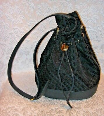 Authentic GUCCI G Pattern Canvas & Leather Navy Drawstring Shoulder Bag Purse