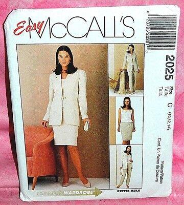 Uncut McCalls Sz 10-14 Easy Funnel Neck Jacket Top Skirt & Pants Pattern 2025