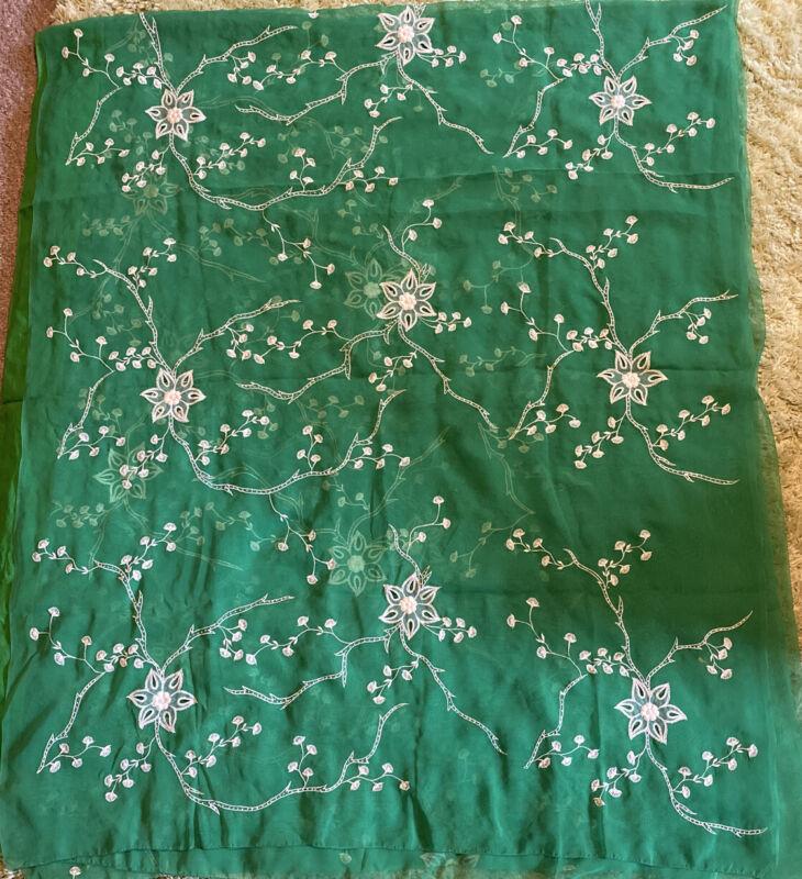 "Saree Sari 204"" X 43"" Stunning Green And White Sheer Silk Embroidered Beaded"