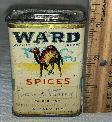 ANTIQUE WARD CREAM TARTAR SPICE TIN LITHO CAN CAMEL ALBANY NY COUNTRY STORE OLD