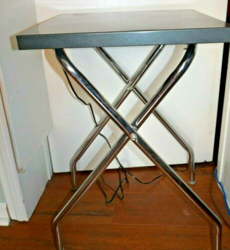 Vtg Metal LOGAN 1220 Folding Projector TABLE 2 Electric Outlets On & Off Switch