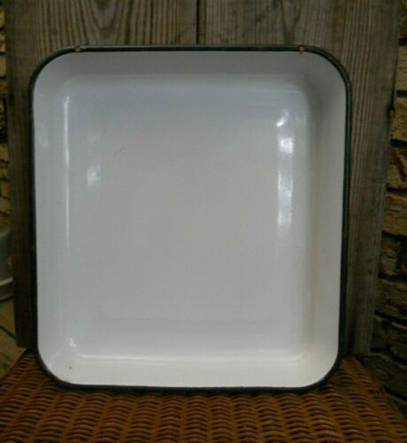 "Vintage Enamel Tray 11.5""x12.5""x2""deep White with Black Rim 2 Holes for Hanging"