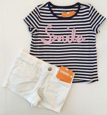 Gymboree Girls Sparkle Smile Tee & White Shorts 2T Retail $44.90