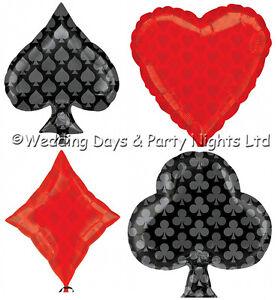 4 x Casino Theme Foil Helium Balloons Club Spade Heart Diamond Party Decorations