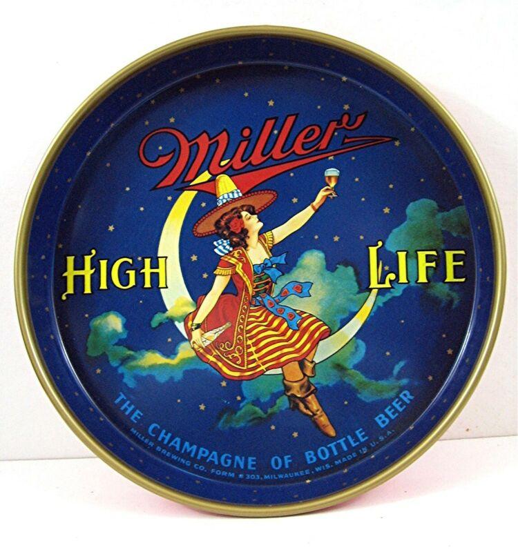 Ols Miller High Life Girl On The Moon Beerr Tray Unused Beer Distributor Stock