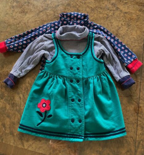 Gymboree Girls X SMALL VINTAGE DRESS AND TWO TURTLE NECKS SET CHECKS APPLIQUÉ