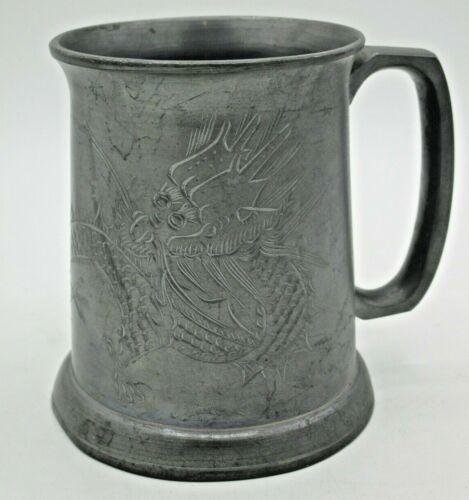 """Vintage Sengheng Chinese Dragon Etched Pewter Mug / Stein 4½"""" Tall"""