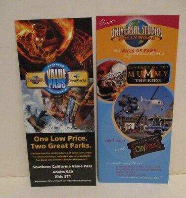 Universal Studios Hollywood Theme Park Value Pass Flyer   Brochure 2004
