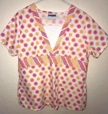 womens size large SCRUBS TOP UNIFORM white orange pink print LANDAU NICE clean @