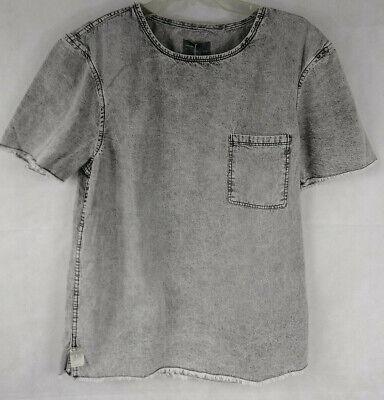 Zara Man 1975 Cut Off Distressed Denim Pocket T Shirt Size Small S Black Wash Denim Distressed T-shirt