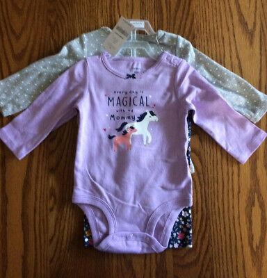 CARTERS Baby Girls Unicorn 3-Pc Cotton Bodysuit/Pants Set (6 Months) NWT 100% Cotton Bodysuit Set
