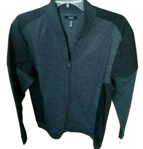 Mens Knit Full Zip Sweatshirt Jacket Alfani Gray Black Large L
