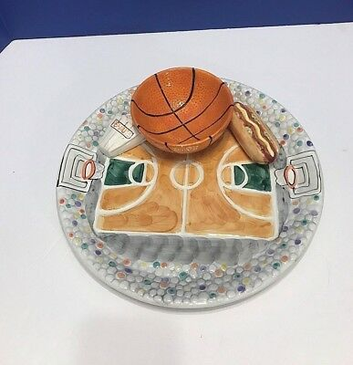 CHIP AND DIP PLATTER...BASKETBALL..CERAMIC..GAME DAY TRAY...WORLD BAZAARS, INC. Game Day Ceramic Chip
