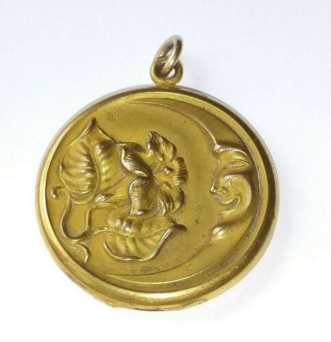 ! Antique JMF & Co 14KT GF Gold Filled Man On Moon Lily Flower Locket Pendant