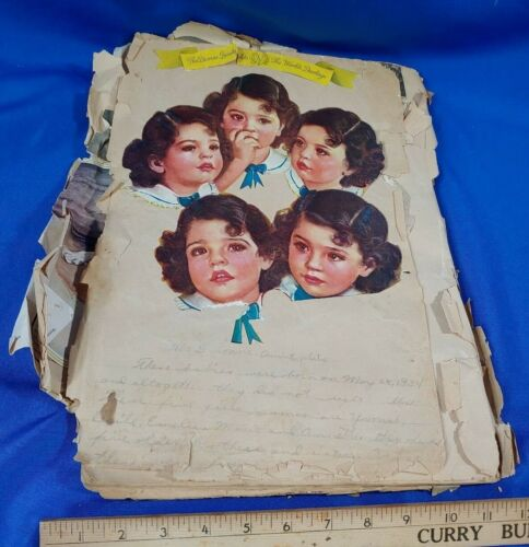 Antique 1930s Scrapbook Dionne Quintuplets Photos Advertising Clippings Rare VTG