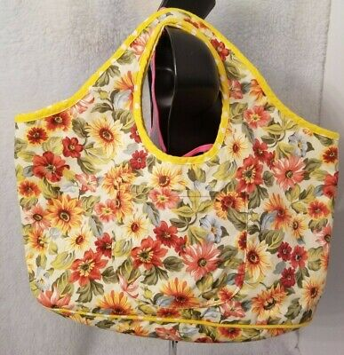 Juniors Womens Girls Multi Color Floral Polka Dot Reversible Tote Bag OR Handbag - Multi Junior Handbags