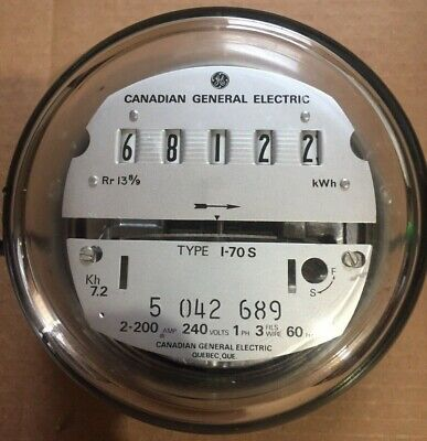 Ge- Electric Watthour Meter Kwh - Type I-70s Ez Read 240v 200a Canada Made
