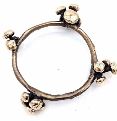 HEAVY American Modernist ADAM-VINCENT Golden BRONZE Spore Bangle Bracelet