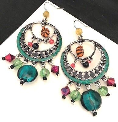 Designer Art Glass Earrings - Designer Statement Earrings Enamel Art Glass Colorful Premier Urban Chic 1X