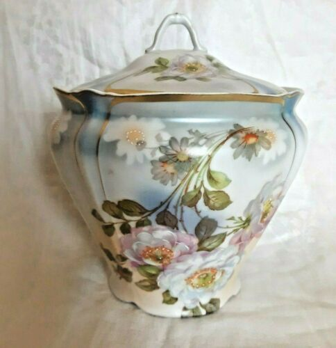Vtg Made in Germany Porcelain Biscuit/Tea Jar Floral With Hand-Painted Accents