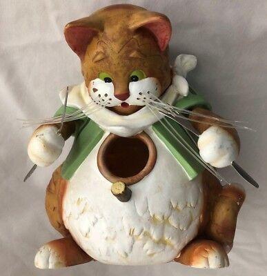 "Humor 6X7.5"" Cat Figurine Ready for Dinner - Bird House Feeder Decoration"
