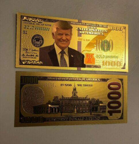 $1,000 ONE THOUSAND DOLLAR GOLD DONALD TRUMP 2020 BILL MONEY NOTE CASH FREE SHIP