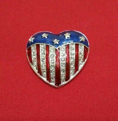 Red White Blue Heart Patriotic American Flag Pin Brooch July 4th Stars - American Flag Heart Pin