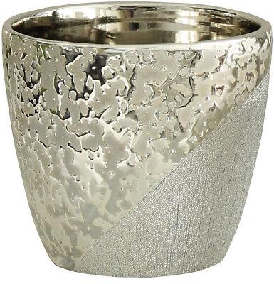 Wunderschöner Übertopf für Blumen aus Keramik champagner-silber 14x14x12 cm