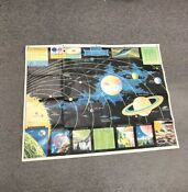 Vintage Rare Rand McNally  Map Of Outer Space 1958 Edition Planets Universe