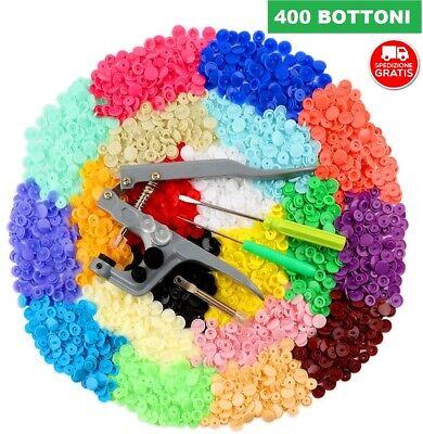 ✅ 400 BOTTONI AUTOMATICI A PRESSIONE 20 COLORI PLASTICA + PINZA BOTTONI METALLO