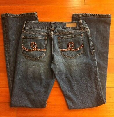 Womens 7 for all Mankind SIZE 6 28 x 33 Boot Cut Embroidered Blue Jeans Stretch