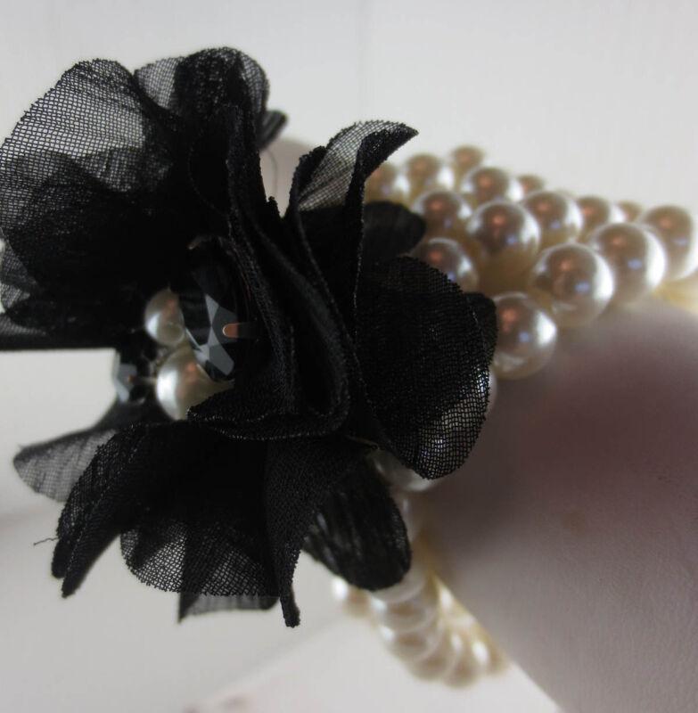 Vintage Style Faux Pearl Black Flower/Rhinestone Wide Bracelet