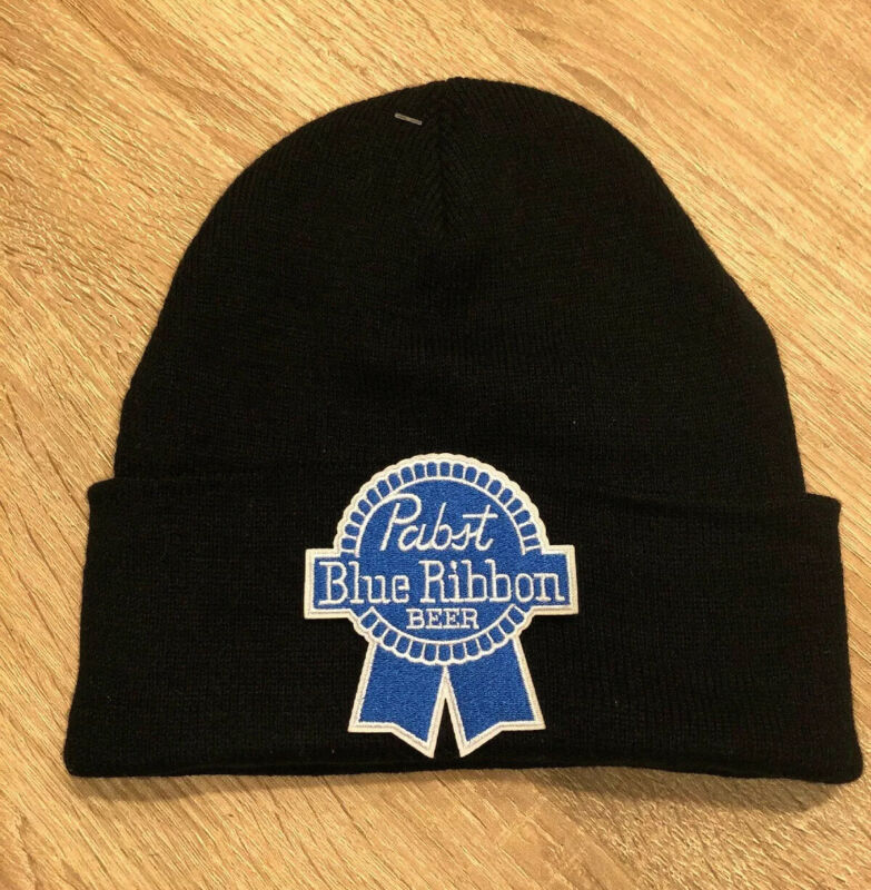 PBR Pabst Blue Ribbon Beer Embroidered Patch Beanie Toboggan American