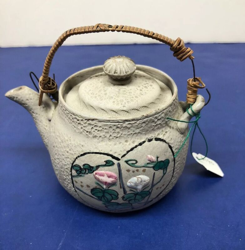 Antique Japanese Banko Teapot Hand Painted Flowers Cherry Blossoms Beautiful