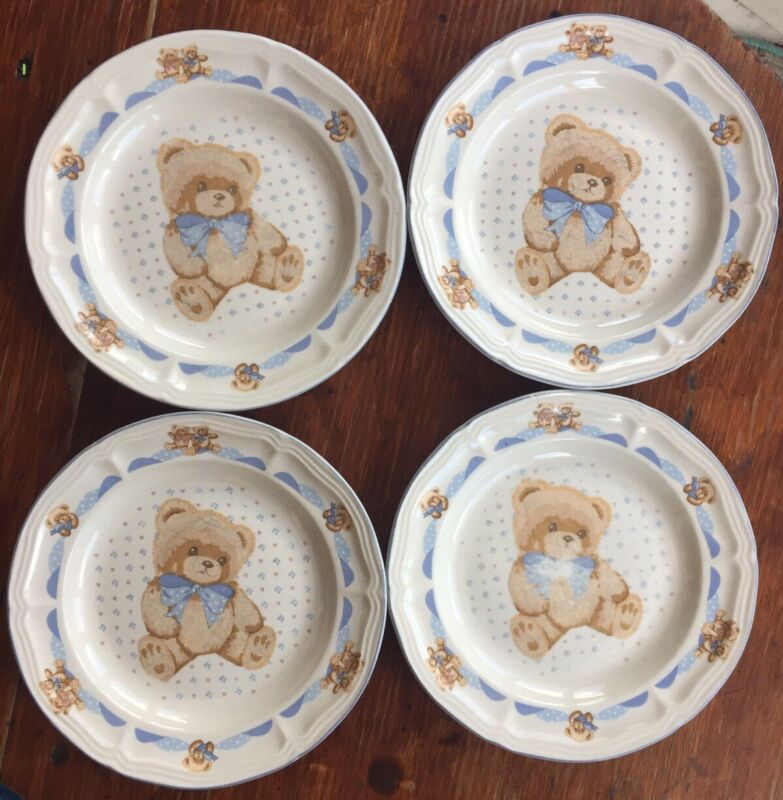 Country Bear Pattern Tienshan Stoneware Theodore Bear Lot Of 4 Salad Plates