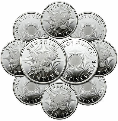 ON SALE! 1 oz Sunshine Silver Round (New, MintMark SI, Lot of 10)