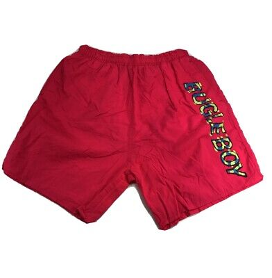 Bugle Boy Mens L Spellout Mesh Lined Swim Trunks Solid Pink Vintage 90s Boys Lined Swim Trunk