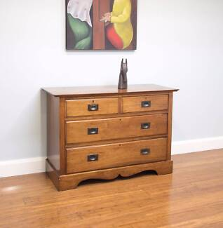 Antique Vintage Walnut Chest of Drawers – Brass Campaign Handles
