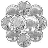 1 oz Sunshine Buffalo Silver Round (New, MintMark SI, Lot of 10)