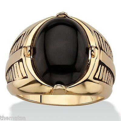 14K GOLD ONYX ETCHED CABOCHON MENS GP RING SIZE  8 9 10 11 12 13
