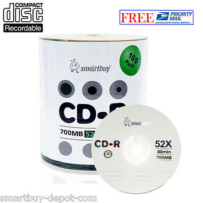 100 Pack Smartbuy Cd-r 52x 700mb80min Logo Top Surface Blank Media Record Disc