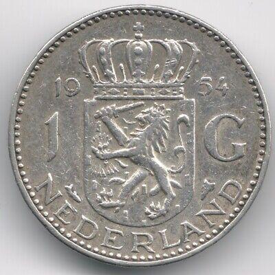 Netherlands : 1 Gulden 1954 Silver