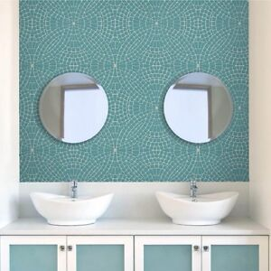 Teal & Grey Raised Mosaic Stone Effect Wallpaper - Bathroom / Kitchen - 10m