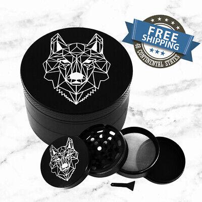 Large Geometric Wolf Matte Black 4-Layer Metal Grinder for T