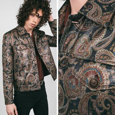 60's Mens Fashion (Mens Finsbury Paisley 60s 70s Collared Style Retro Navy Mod Jacket S M L XL)